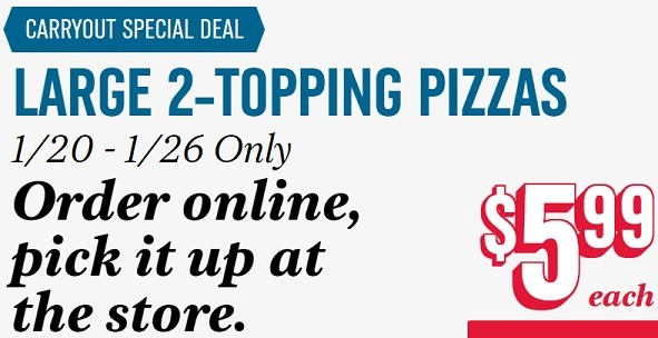 Domino's Large 2 Topping Pizza Promotion