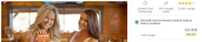 Groupon Hooters GC Promotion 0127