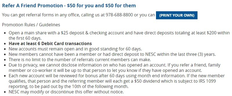 NESC Federal Credit Union Promotions