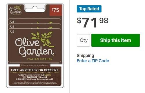 Olive Garden 75 gc for 71.48