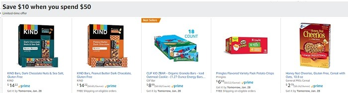 Save 10 Off 50 Amazon Grocery Promotion