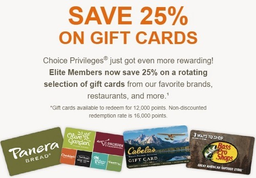 choice hotels 25 off gift cards