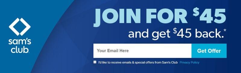 sams club 45 back w membership