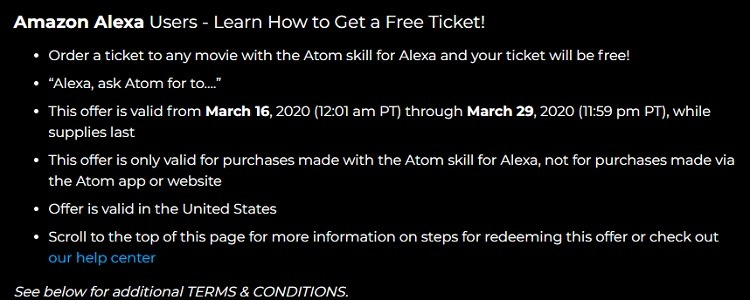 Free Ticket for Amazon Alexa Users