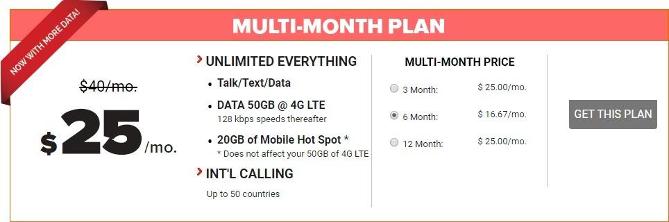 Get 6 Months Unlimited Talk & Text + 50GB LTE (Unlimited 2G) w/ 20GB Hotspot Plan SIM Kit for $100