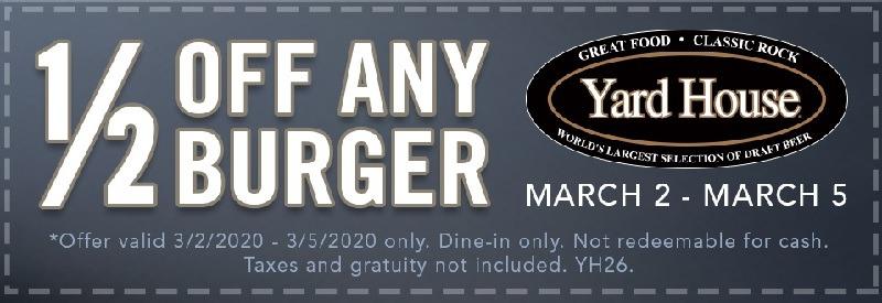 Half Off Any Burger Through 3/5