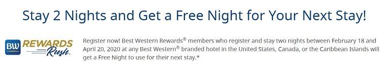 best western 1 free night w 2 night stay