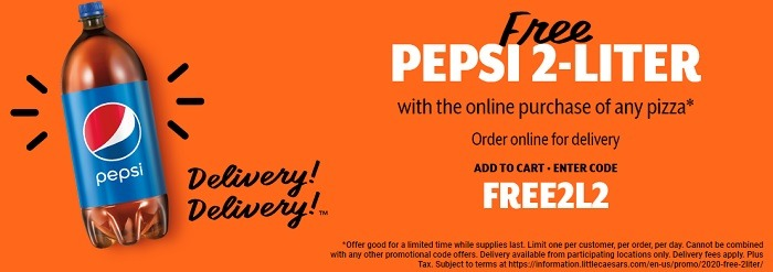 Free 2-Liter Pepsi w/ Online Pizza Purchase
