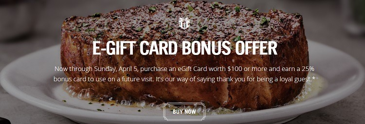 25% Bonus on $100+ Gift Card Purchase