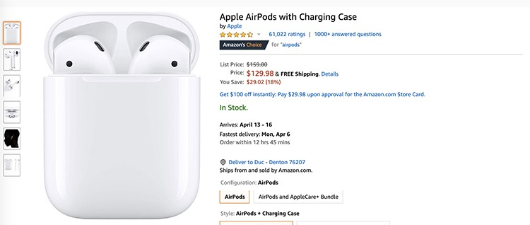 Get Apple AirPods w/ Charging Case for $129.98