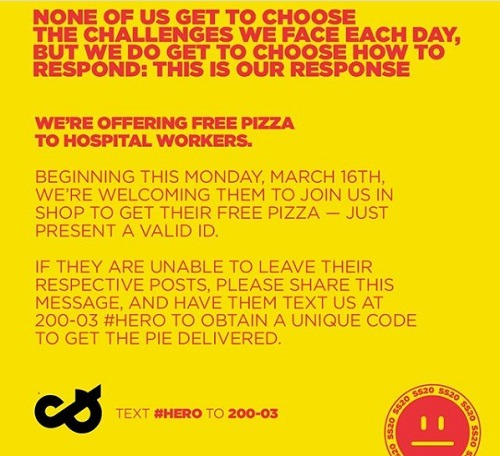 Free Pizza for Hospital Workers