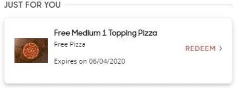 Free Medium 1 Topping Pizza