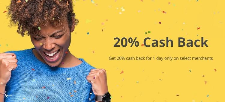20% Cash Back at Select Merchants