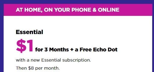 Get 3 Months of Essential Plan + Free Echo Dot for $1