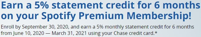 Earn 5% Statement Credit for 6 Months w/ Chase Credit Cards