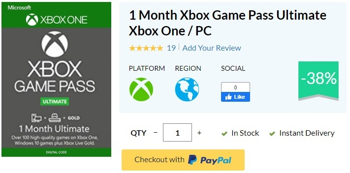 1 Month Xbox Game Pass Ultimate for $10.09