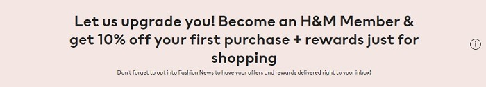 Get 10% Off First Purchase w/ H&M Member Enrollment