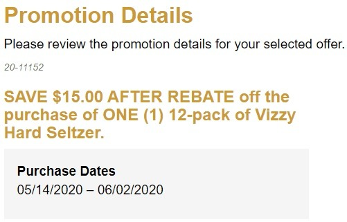 Get $15 Rebate w/ 12 Pack of Vizzy Hard Seltzer Purchase (MN, ND)