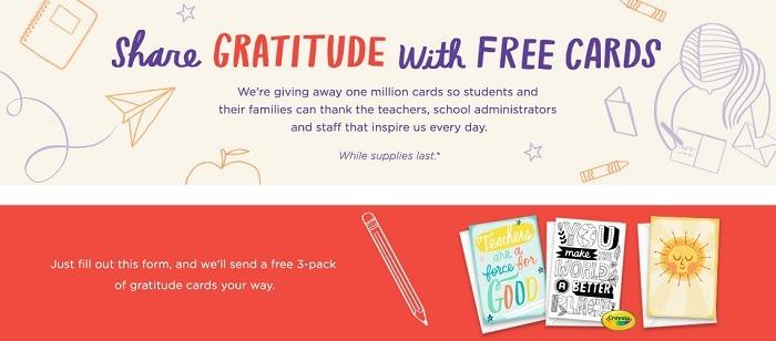 Free 3-Pack of Teacher / School Admin Gratitude Greeting Cards