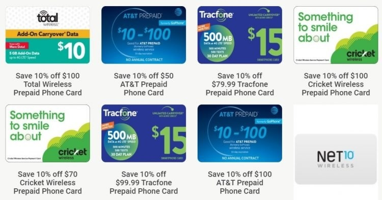Save 10% on Select Prepaid Phone Cards