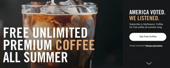 Free Unlimited Coffee Through 9/7 w/ MyPanera+ Subscription