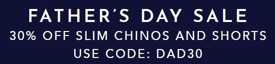 30% Off Slim Chinos & Shorts