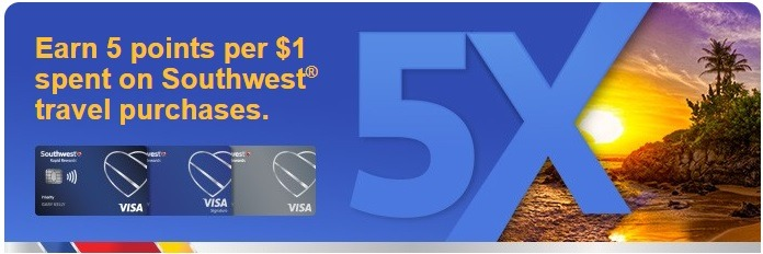 Southwest Cardholders Earn 5X Points on Southwest Purchases