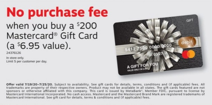 No Purchase Fee On $200 Mastercard Gift Cards