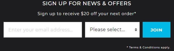 Get $20 Off $100 Order w/ Email Sign-Up