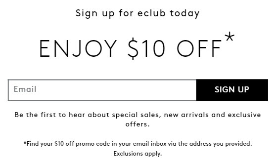 $10 Off w/ Email Sign-Up