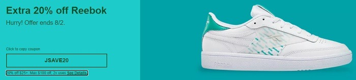 Extra 20% Off Reebok Coupon