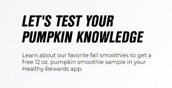Free 12 oz. Pumpkin Smoothie