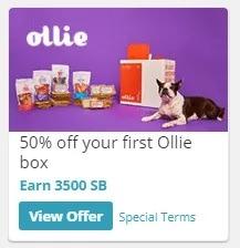 Earn 3,500 SB + 50% Off First Ollie Box