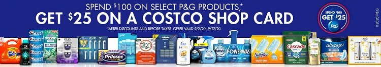 Get $25 Costco Shop Card w/ $100 P&G Products Purchase