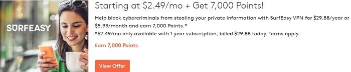 Earn 7,000 Points w/ SurfEasy VPN Subscription
