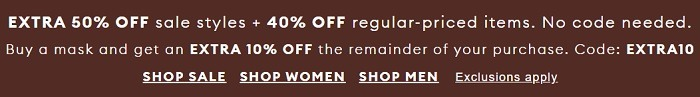 Extra 50% Off Sale Styles; 40% Off Regular Priced Items