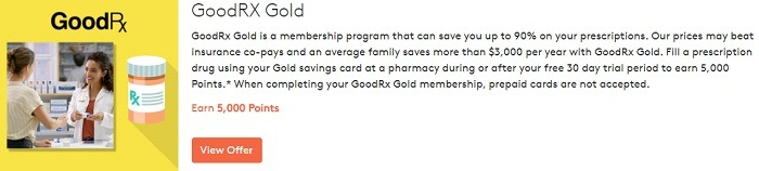 Earn 5,000 Points with GoodRX Gold Membership Subscription