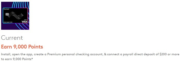 Earn 9,000 Points When Opening a Current Personal Checking Account