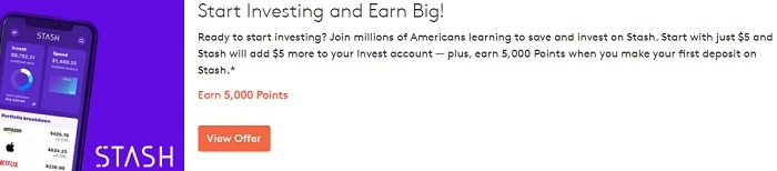 Earn 5,000 Points + $5 w/ Stash Investing Account Sign-Up