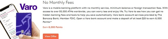 Earn 8,000 Points w/ Varo Bank Account Sign-Up