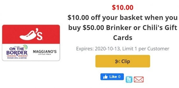 Get $10 Off with $50 Brinker/Chili's Gift Card Purchase