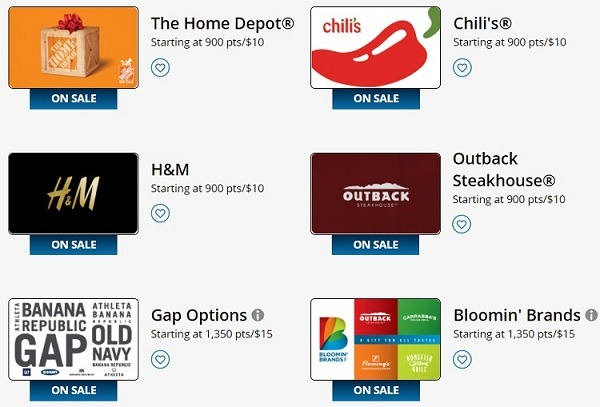10% Off Select Gift Cards When Redeeming Points