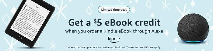 Get $5 eBook Credit w/ eBook Order Using Alexa