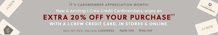 New/Existing Cardmembers Get Extra 20% Off Purchase Coupon