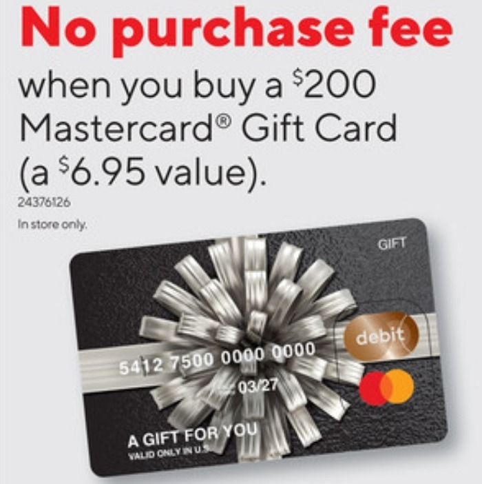 No Purchase Fee On $200 Visa & Mastercard Gift Cards