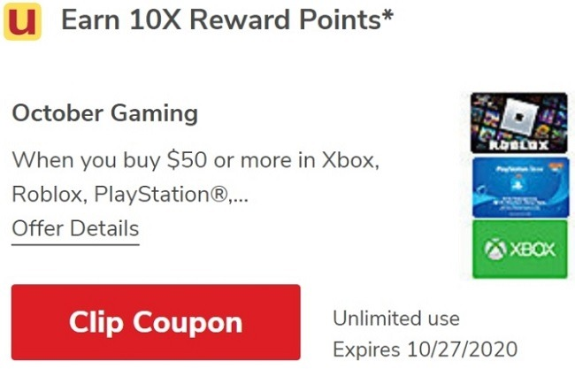 Earn 10X Reward Points on $50 Select Gaming Gift Cards Purchase
