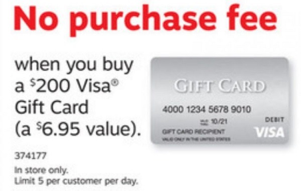 No Purchase Fee On $200 Visa Gift Cards