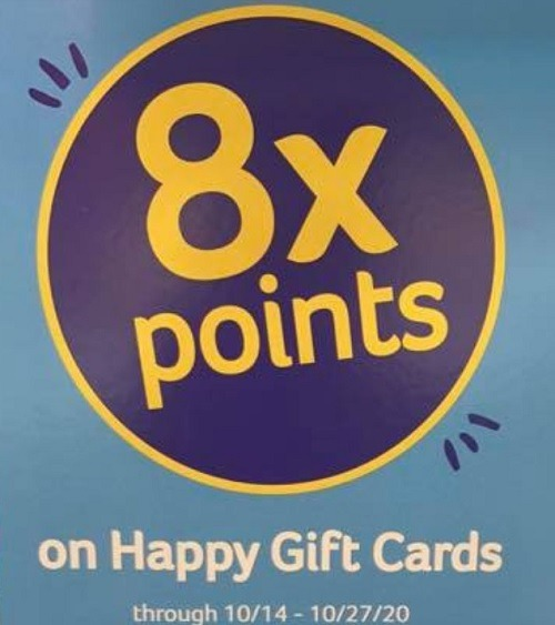 Earn 8X Points on Happy Gift Cards