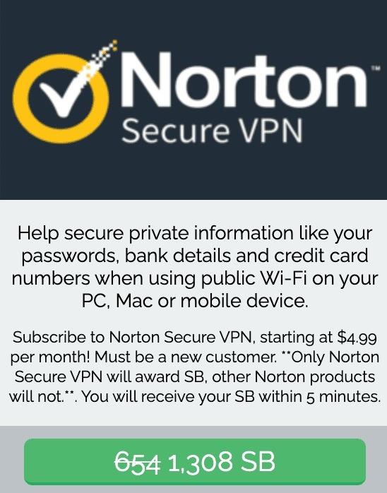Earn 1,308 SB w/ Norton VPN Subscription