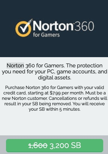Earn 3,200 SB w/ Norton 360 for Gamers